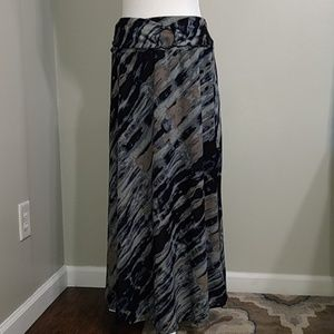 Robert Louis Gray Black Modest Maxi Skirt M